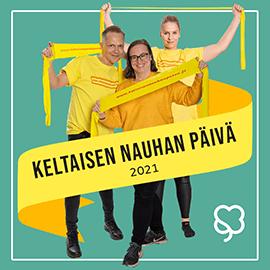 Keltaisen nauhan päivä 2021 - kuvassa Marko, Tinja ja Heta.